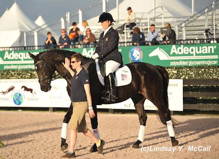 Mary Jordan (USA) Grade IV and Sebastian at the Para-Dressage preview. Photo by Lindsay McCall
