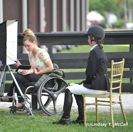 Cambry Kaylor (USA) Grade Ib on the left helps interview Elle Woolley (USA) Grade III. Photo by Lindsay McCall