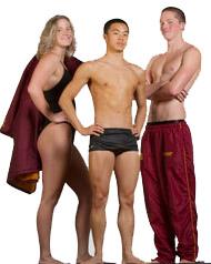 Rinker, Pai, Bowers, HMC swimmers