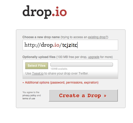 snapshot of the drop.io home page