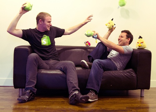 Shopify Employees Toss Angry Birds