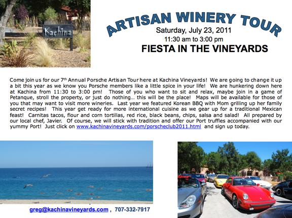 2011 Artisan Wine Tour Flyer