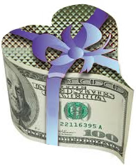 heart-shaped money-box with ribbon