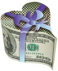 heart-shaped money-box with ribbon