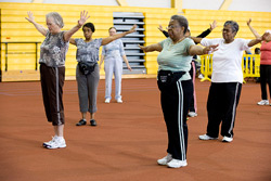 seniors at exercise class