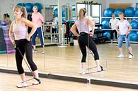 fitness class with resistance band