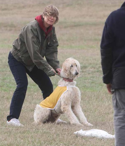 Mary Holding Ricky at Lure Coursing