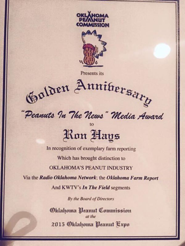 Thanks to the Oklahoma Peanut Commission   I am honored.
