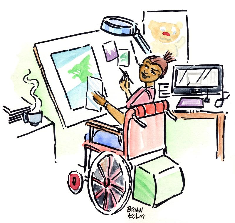 Dela at work on her accessible computer