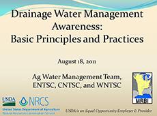 Drainage Water Management Awareness webinar title slide