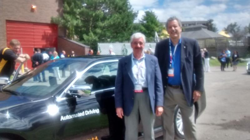 Bob Feldmaier and Joe Petrosky experience automated vehicle demonstration