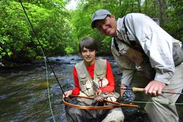 father son fishing fly fishing the smokies