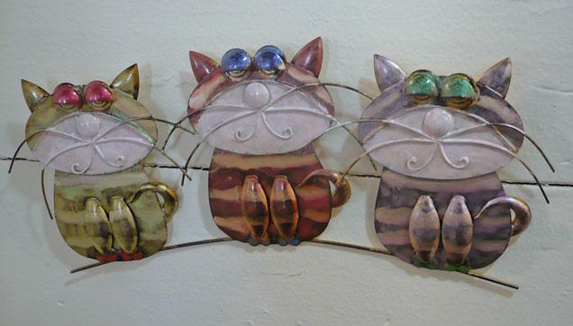 cat yard wall art