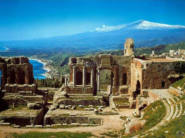 Sicily ruins/etna