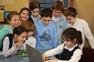 Hillel Students in the Library