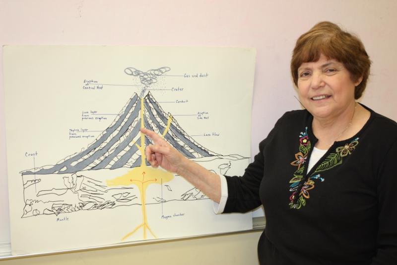 Mrs. Lederer with Volcano