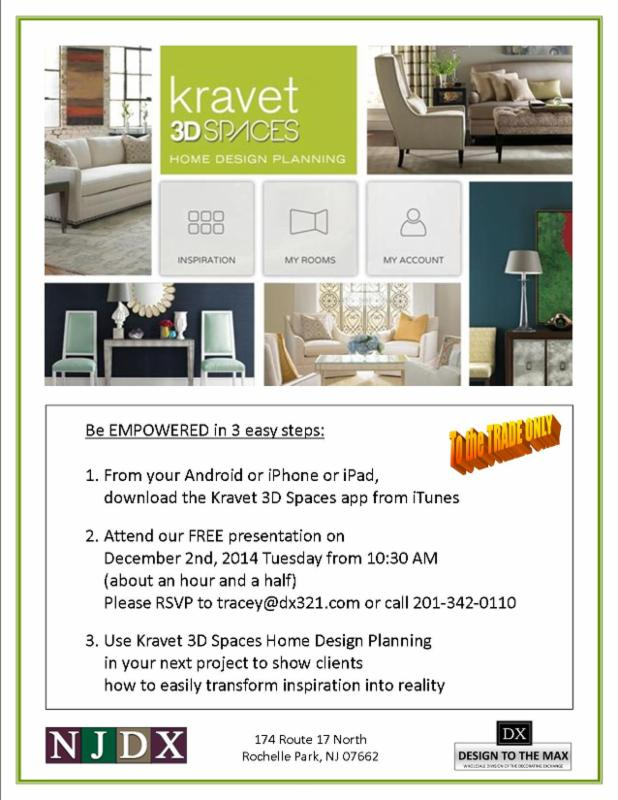 Please Join Us On. December 2nd, Tuesday From 10:30   12:00 Noon For.  Kravet 3D Spaces Home Design Planning By Jesse Lazarus, VP Operations,  Kravet