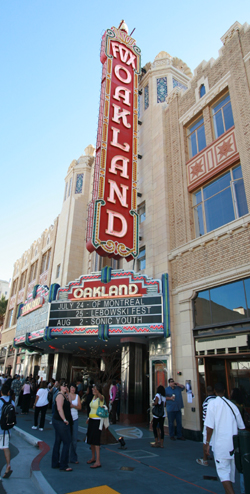 Vibrant nightlife around the Fox Theater in Oakland, Calif.
