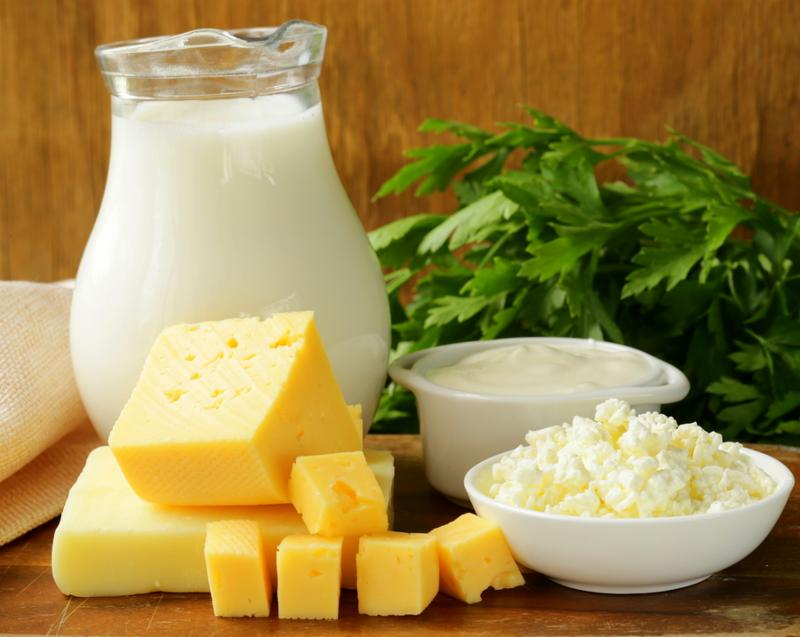 still life of dairy products  milk, sour cream, cheese, cottage cheese      Note  Shallow depth of field