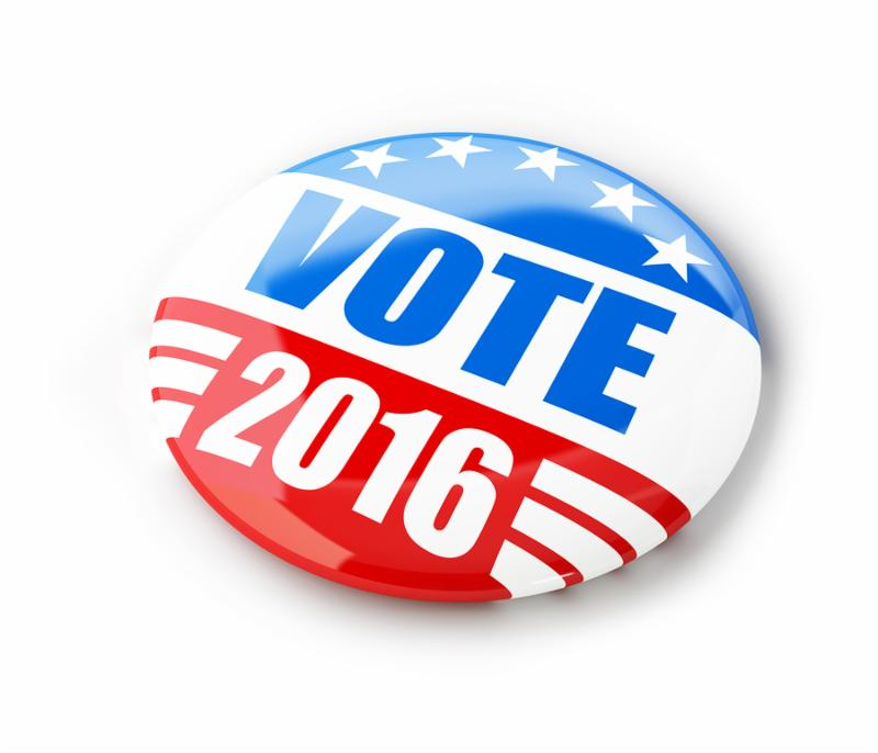 Vote election campaign badge button for 2016. 3d Illustrations on a white background