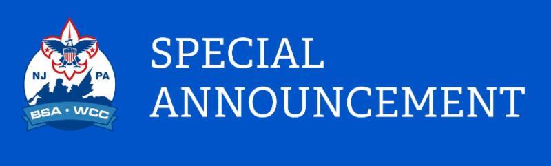 Washington Crossing Council BSA Special Announcement