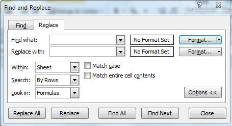 Replacing Formatting