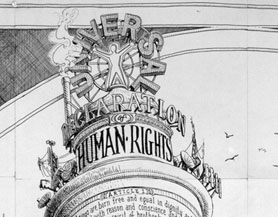 Sandow Birk, Monument to the United Nations Declaration of Human Rights (detail), 2008