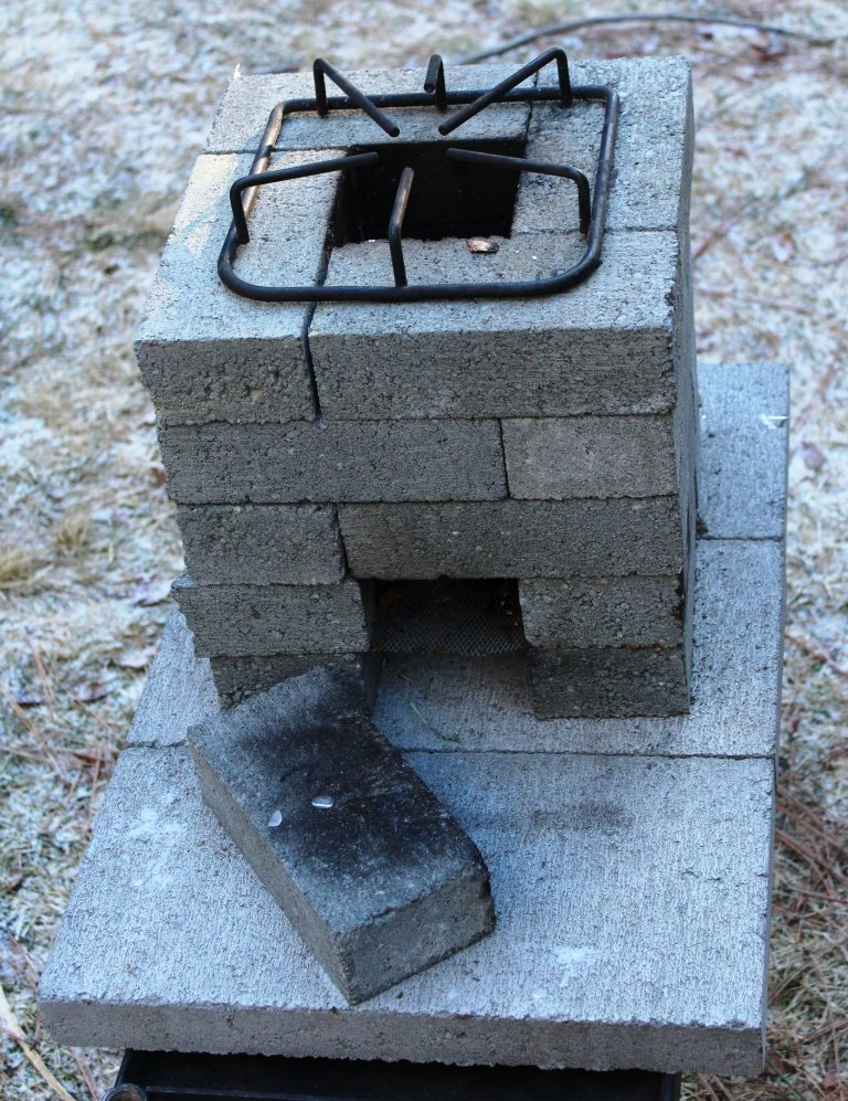 make a brick rocket stove for 10 paracord bootlaces