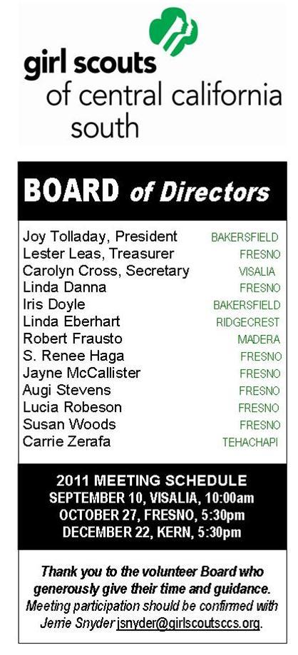BOARD OF DIRECTORS 082211