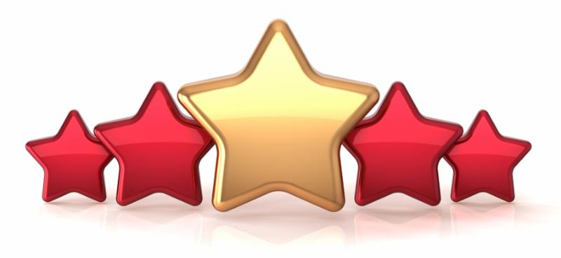 Gold star leadership inside red stars award success decoration. Best competition top excellent quality business service rating trophy icon concept. Detailed 3d rendering. Isolated on white background