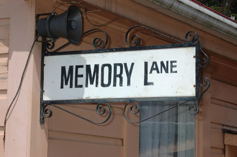 ornate street sign for Memory Lane Shantytown Westland New Zealand