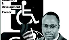 A man's hear is seen just below and to the right of a black and white picture of the wheelchair access symbol.