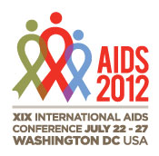 A Red Green and Blue ribbon with a dot on top to make them look like people are on the left of AIDS 2012