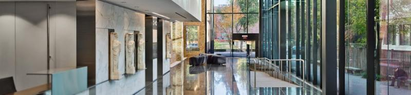 Ground floor at 2013 H Street NW black tile floor long entrance ramp glass walls to right and front entrance
