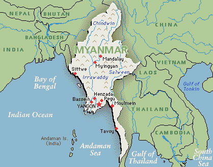 Map of Myanmar showing that it is bordered by the Indian Ocean, Bangladesh, Bhutan, China, Laos and Thailand