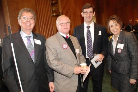 John Pare (National Federation of the Blind), Thomas Berger (Vietnam Veterans of America), Ray Kelley (Veterans of Foreign Wars), and Heather Ansley (VetsFirst)