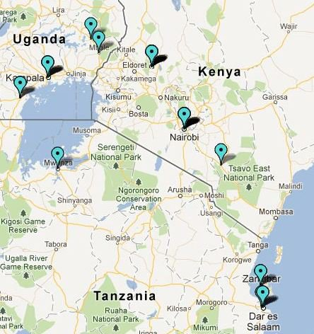 A map showing GDRL Deployments in Africa