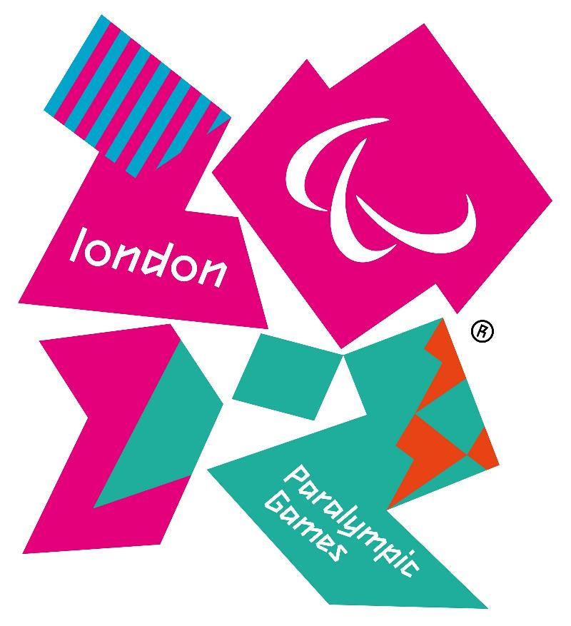 The numbers 2012 in purple, pink and green with the paralympic logo and london in white.