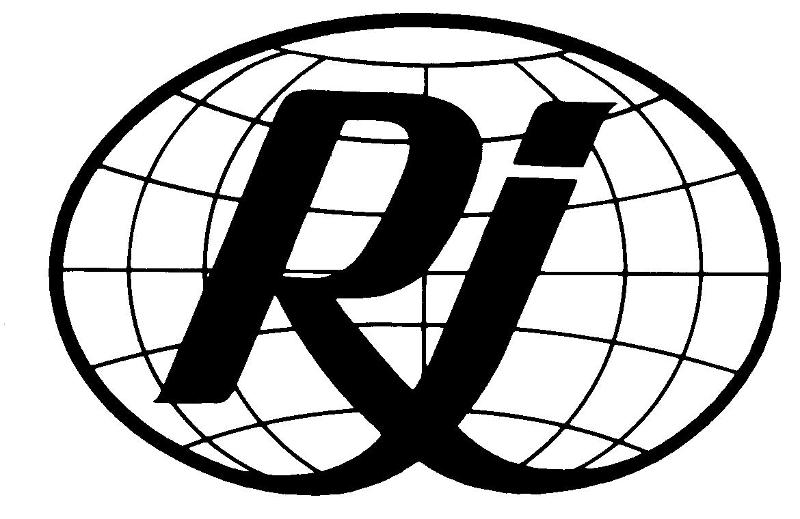 Capitol latter R and lowercase letter i intertwined and forming the outside edges of a globe.