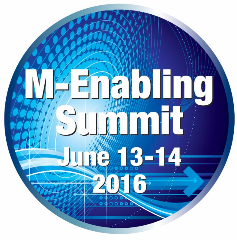 A round logo with white text on a blue background M-Enabling Summit June 13-14 2016