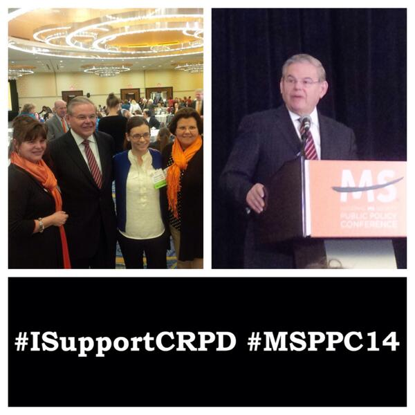 Three images: First the Senator with disability advoctes, then Senator  Memnendez at a podium and across the bottom a black banner with white lettering that says #ISupportCRPD and #MSPPC14