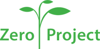 Green text on a white background says Zero Project in between the two words is the image of a sprout with three leaves