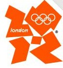 The Orange number 20 on top of a 12 with the Olympic rings in the mittle of the 0
