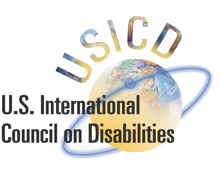 USICD's logo: A globe with a ring around it, overlaid with the name U.S. International Council on Disabilities