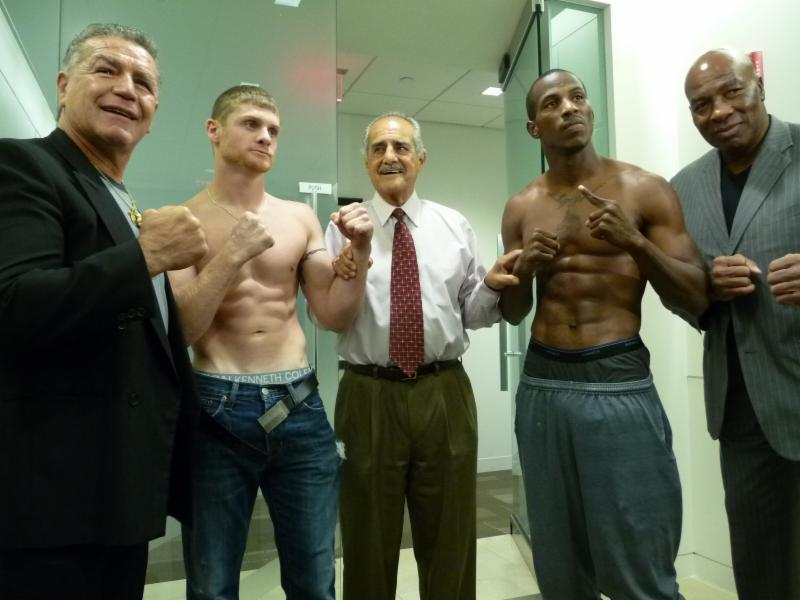 -  (L-R) FTE Legend Vito Antuofermo, N.H. Boxing Commissioner Bobby Stephen,