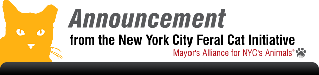 Announcement from the New York City Feral Cat Initiative