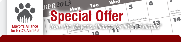 Special Offer from the Mayor's Alliance for NYC's Animals