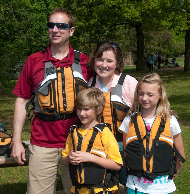 Family wearing life vests