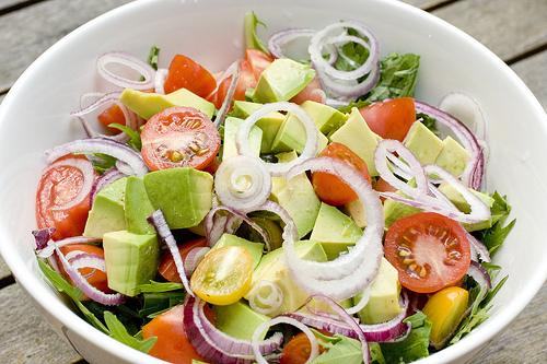 and tomato cucumber avocado salad i made three different salads tomato ...