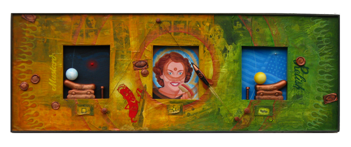 Jonathan Gledhill, Five Cent Redhot and 3rd Eye Chakra Triptych, 2011